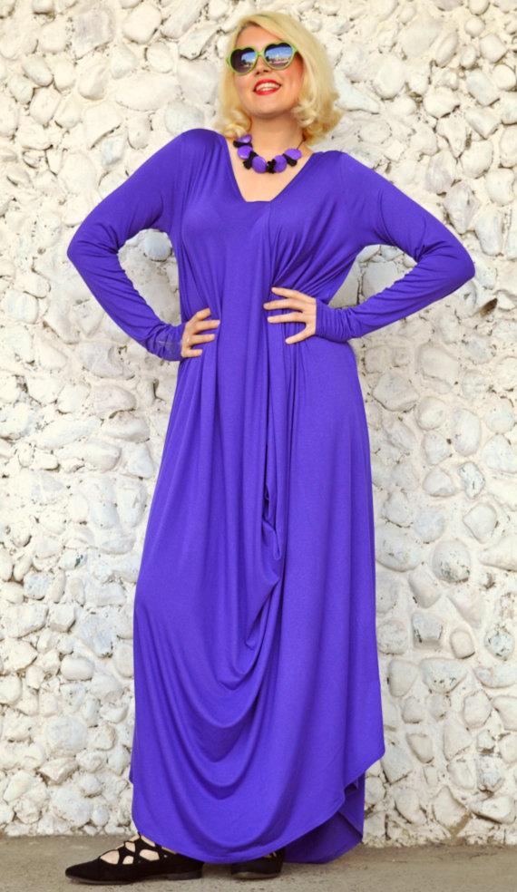 Purple Maxi Dress, Purple Kaftan TDK04