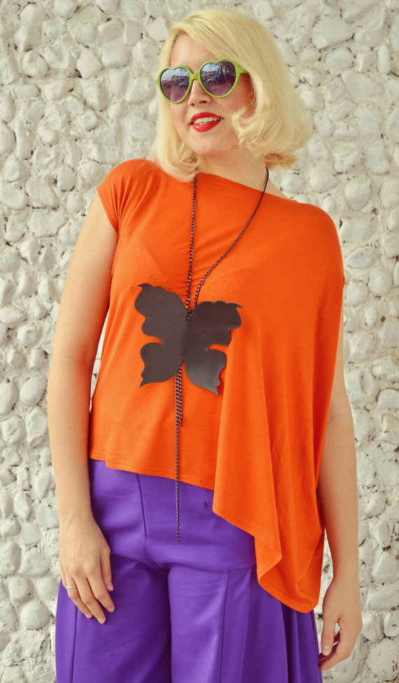 funky butterfly leather necklace