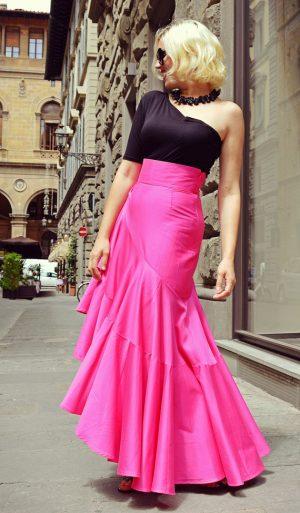 fuchsia ruffle skirt