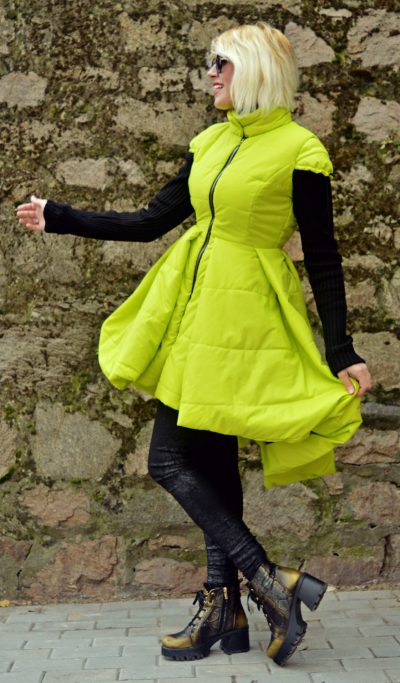 yellow padded jacket