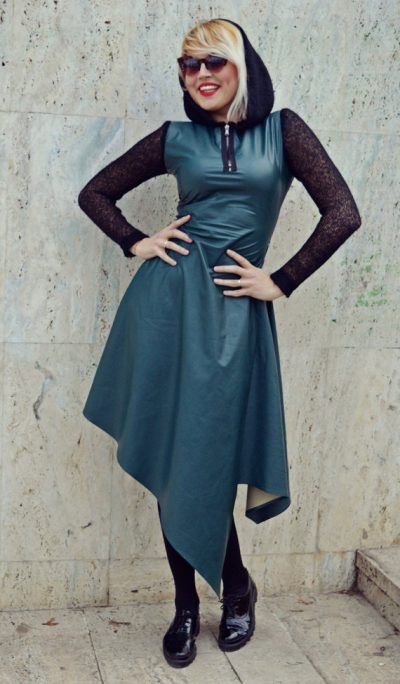 Forest Green Leather Dress