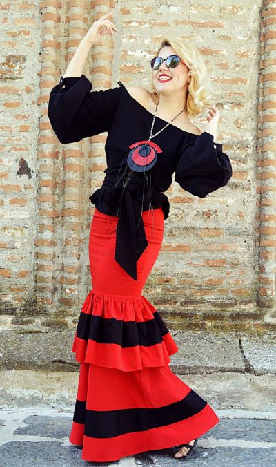 red cotton skirt with ruffles