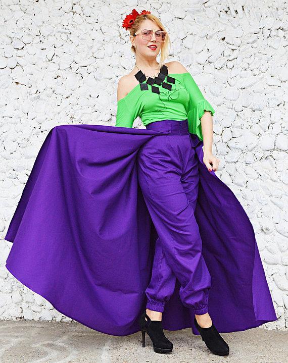 purple skirt pants