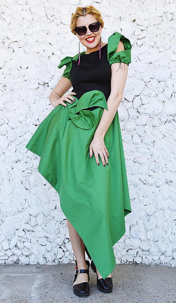 cotton green dress