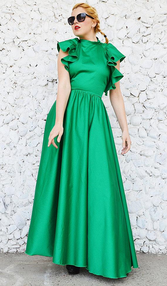 Maxi Green Dress, Long Flared Dress TDK298 - TEYXO