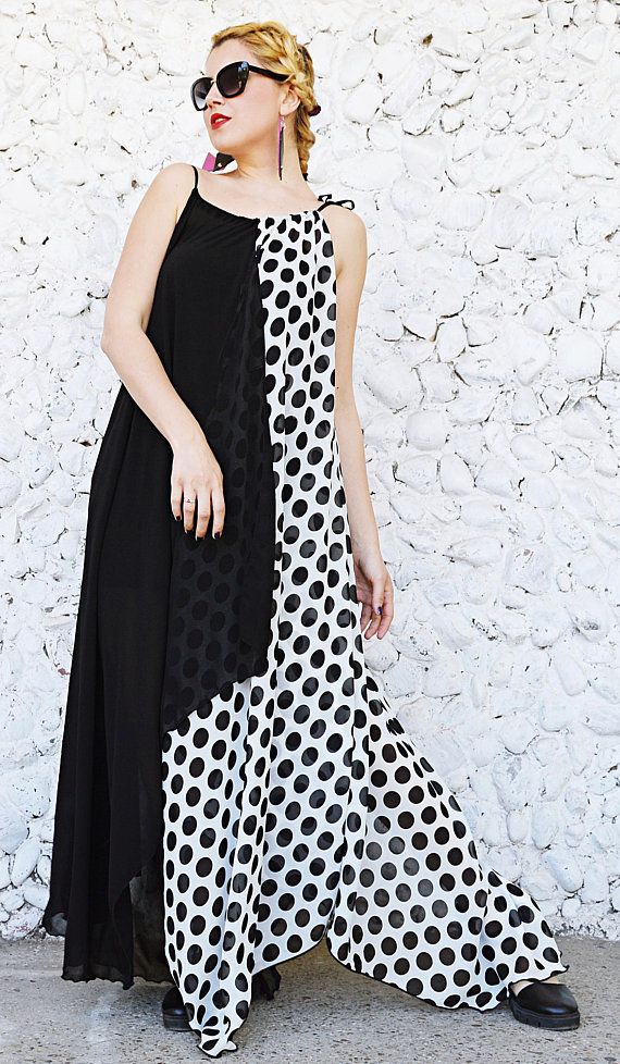 polka dots chiffon dress