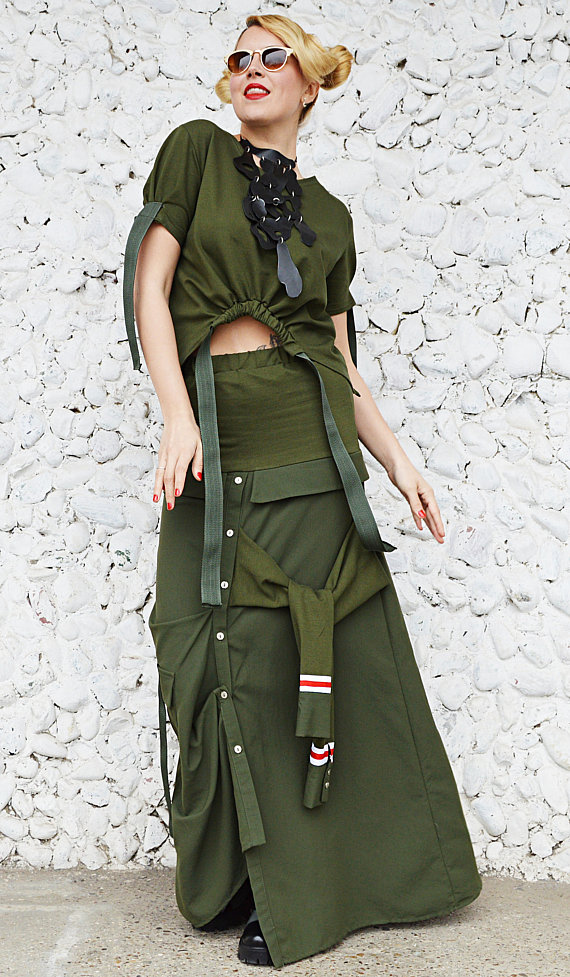 army cotton skirt