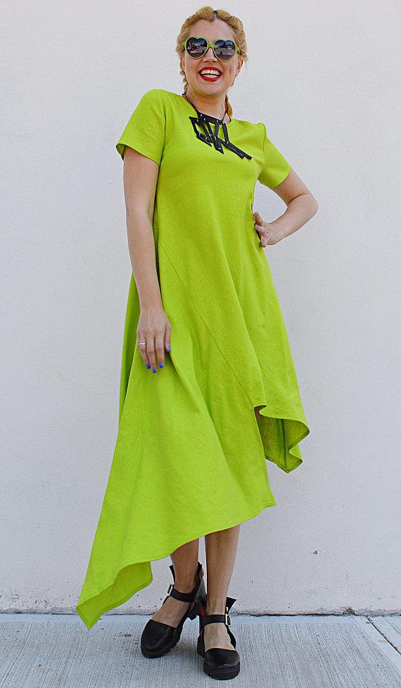 lime green linen dress