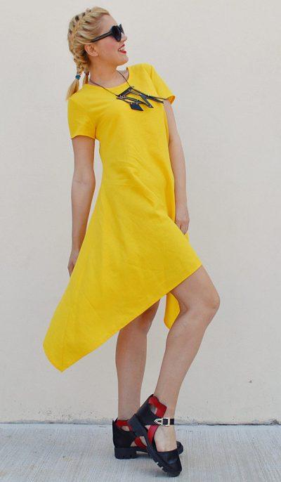 Washed linen midi dress