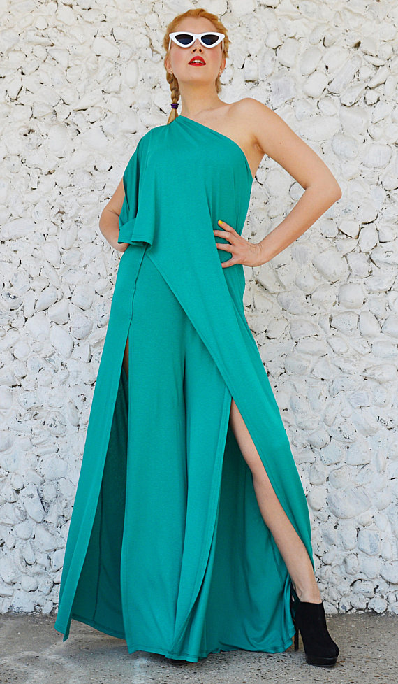 cropped teal jumpsuit