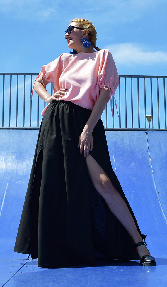 washed linen maxi skirt