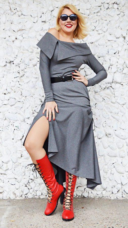 gray jersey dress