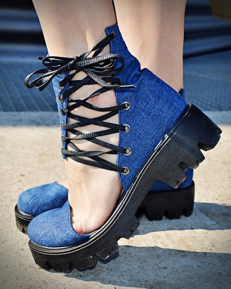 denim lace shoes