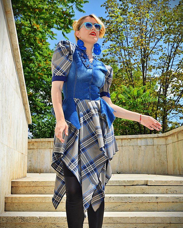checkered denim dress