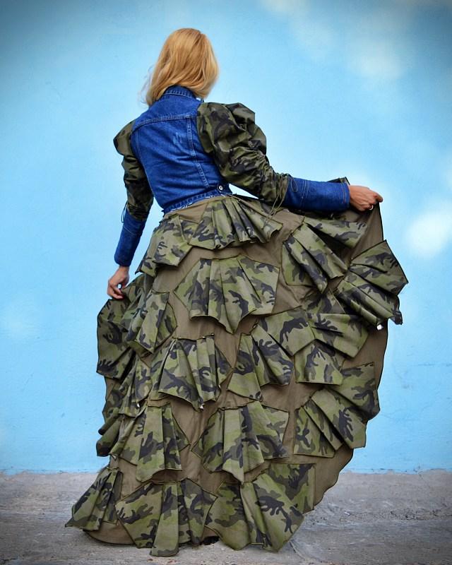 long military jean coat