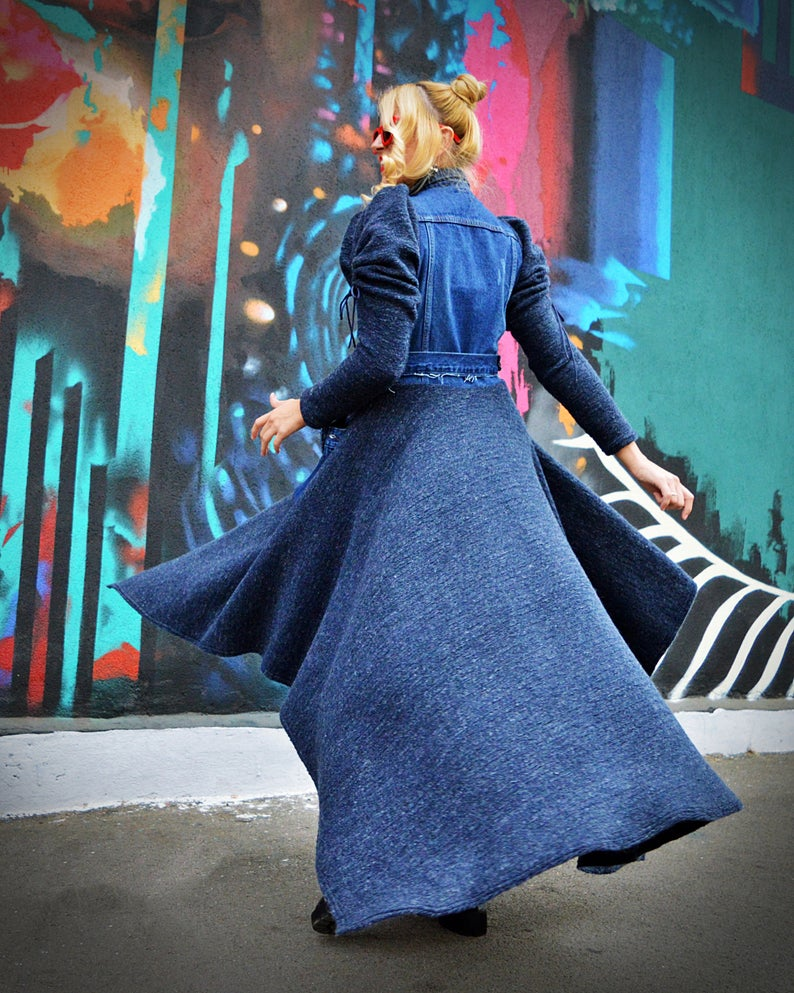 wool denim coat