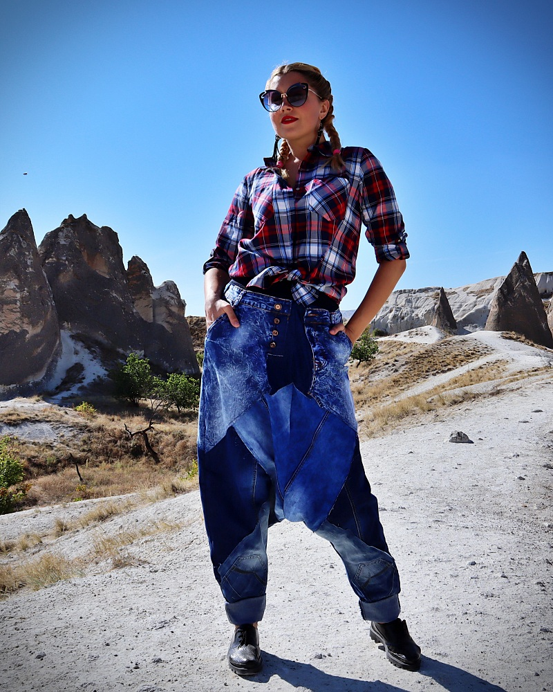 patchwork jean pants