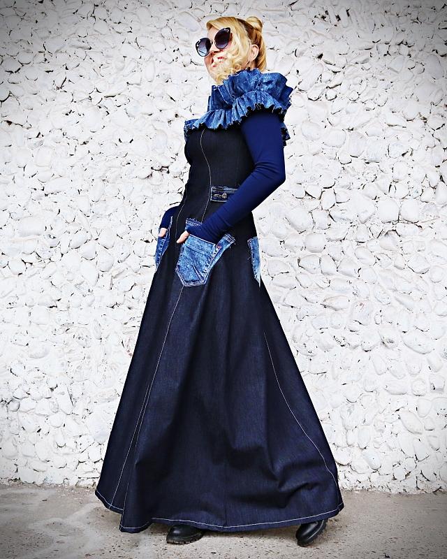 denim long dresses